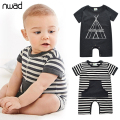 Summer Infant Boy Cotton Rompers Casual Striped Newborn Baby Clothes Toddler Boys Short Sleeve Romper With A Hat FF099