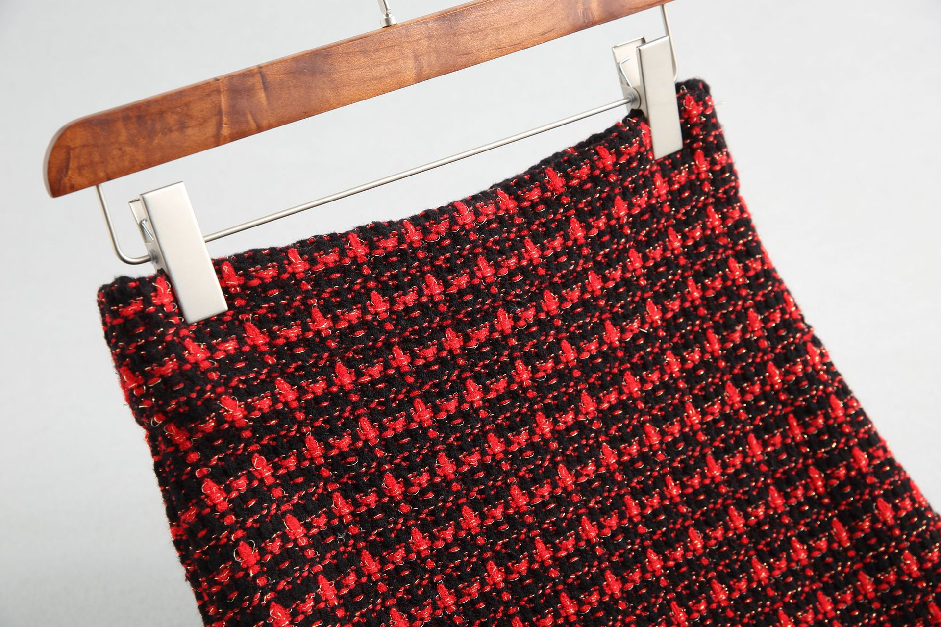 19 Spring autumn New tweed Women's skirt elegant Office Double Breasted plaid knitted Vintage Package Hip midi skirt Female 13