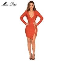 2016 New Fashion Sexy Women Bandage Dress Orange Hollow Out Long Sleeve V Neck Elegant Lady