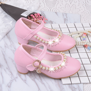 Image 5 - 2019 childrens white Beaded leather shoes little girls kids dress party wedding school prinses shoes big girls high heel shoes