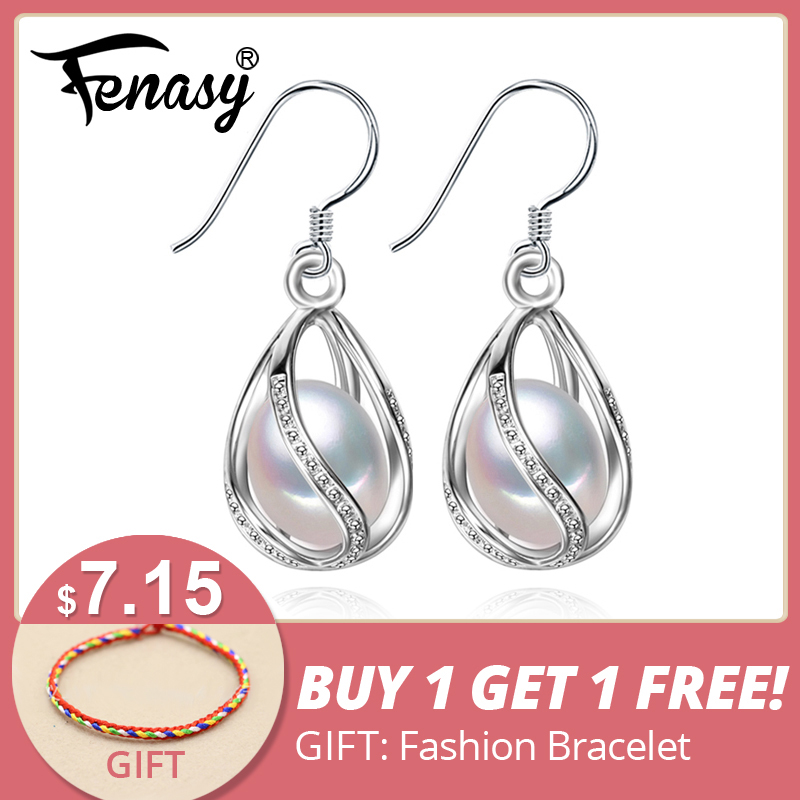 FENASY Mutiara drop earrings Perhiasan Mutiara retro Choker untuk Wanita Kasual Perhiasan Mutiara 925 Sterling Silve Charm Bohemia anting
