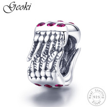 Geoki 925 Sterling Silver Pink CZ Angel Wings Feather Beads fit Original Pandora Bracelet Wing Shaped Charms Necklace Pendant equte psiw264 stylish 925 sterling silver necklace w angel wing pendant for women silver 18