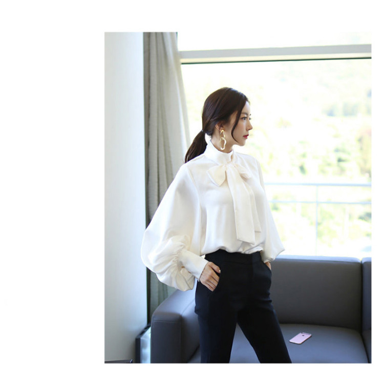 2019 Spring Women Blouse Korean Office Lady White Chiffon Long Lantern Sleeve Bow Shirt Casual Loose Stand Collar Blouse (2)