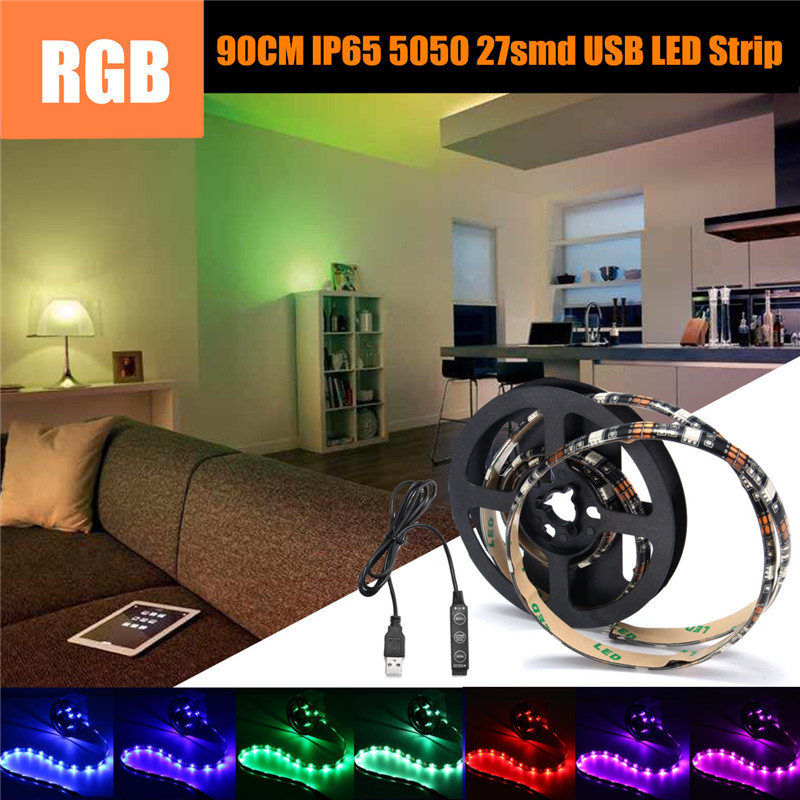 90cm 5.4W LED Strip Light with Mini Control 27SMD 5V USB RGB 5050 TV PC Background Lighting Kit Lamp