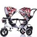Venta caliente Doble Asientos Dobles Bebé Triciclo Bicicleta Cochecito para Gemelos Cochecito de Niño Plegable de Tres Ruedas Cochecitos Twins Triciclo