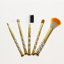 5Pcs/Set Golden Aluminum Handle Makeup Brush Kit Include Eyebrow Comb Blush Brush Applicator 2 Eye Shadow Blending Brushes