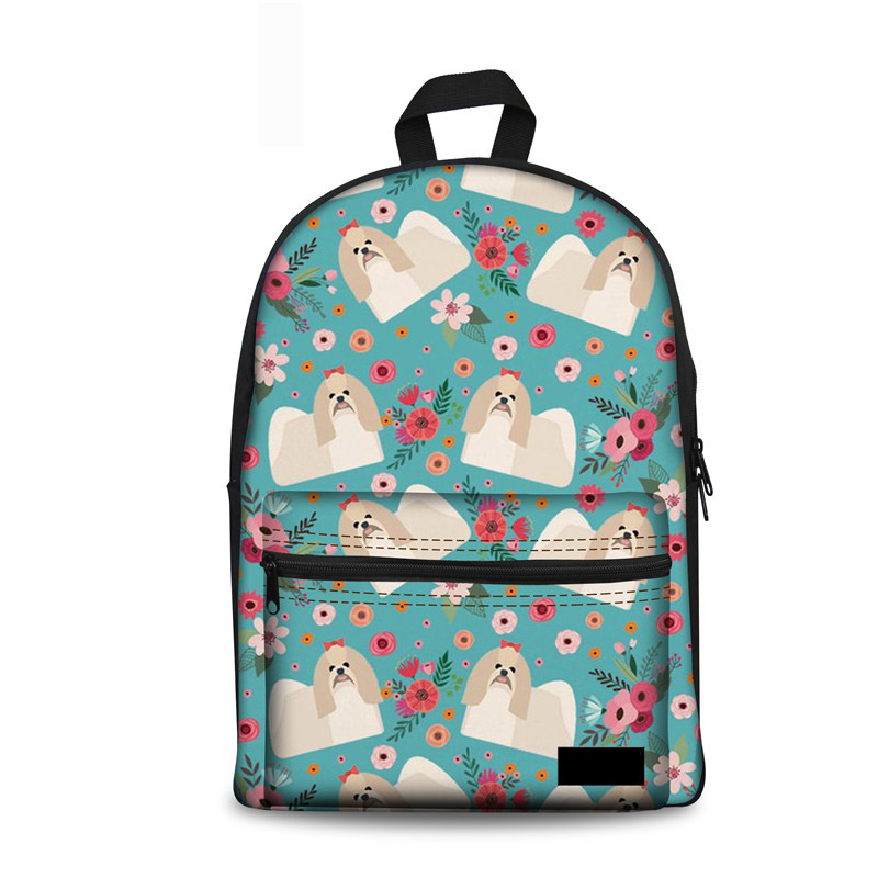 Teenager Schoolbag For Girls Shih Tzu Flower Female School Kids Backpack Womens College Book Computer Rucksack Mochila