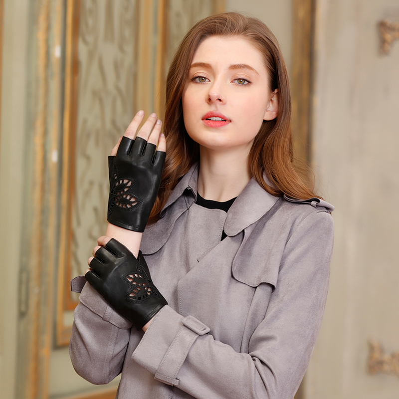 Semi Finger Gloves Female Genuine Leather Summer Locomotive Gloves Half Finger Short Style Spring Autumn Thin Breathable G444