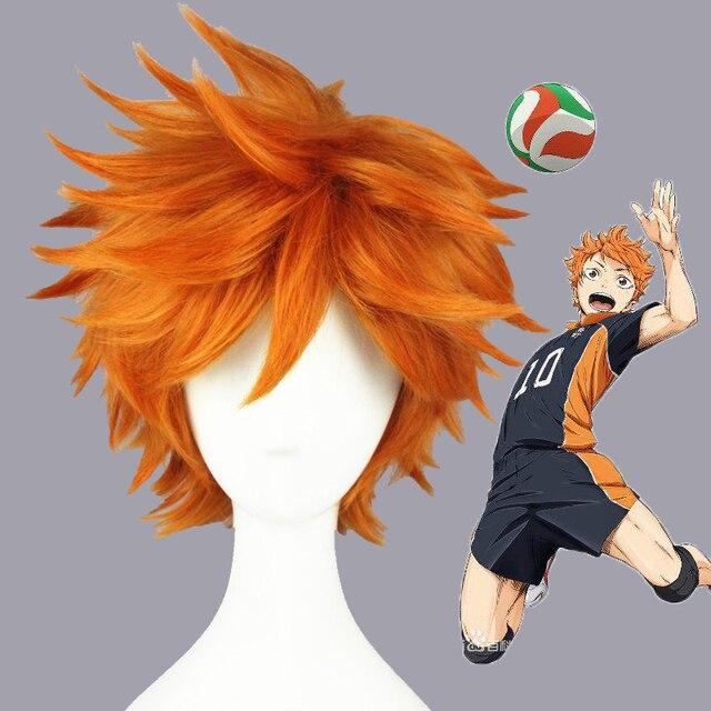 ¡Anime Haikyuu de alta calidad! Hinata Syouyou Peluca de pelo sintético resistente al calor, peluca de pelo corto rizado naranja + gorro para peluca