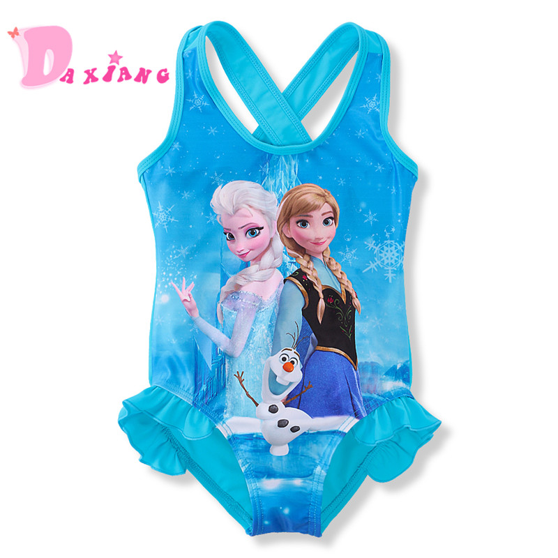 3-10Y Baby Girls One pieces Swimsuit Bikini Cute Anna Elsa Princess Dress Cartoon Pattern Bathing Suits Swimwear Bikini Bodysuit