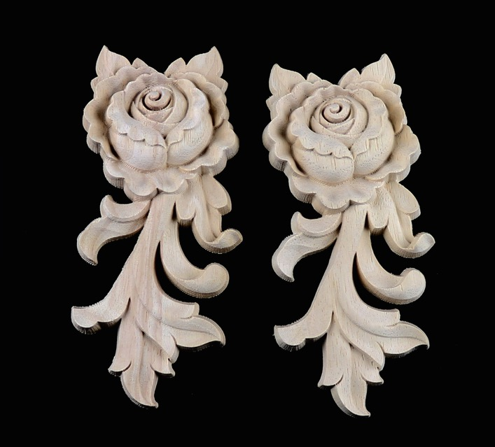 4Pieces/Lot 5.5*6.5*1.5cm European Solid Rubber Wood Carved Door Trim Drawer Rose Flower Decals