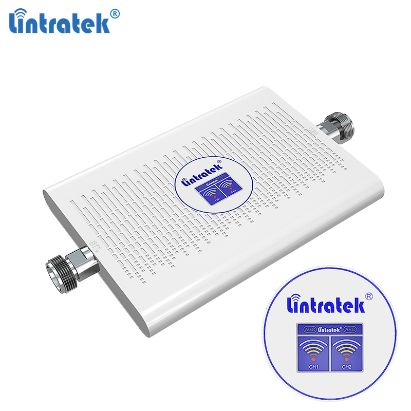 Lintratek NEW 2G 3G Signal Booster 900 2100Mhz GSM WCDMA Dual Band Repeater 900 2100 GSM 3G Booster Ampli AGC 70dB High Gain #8