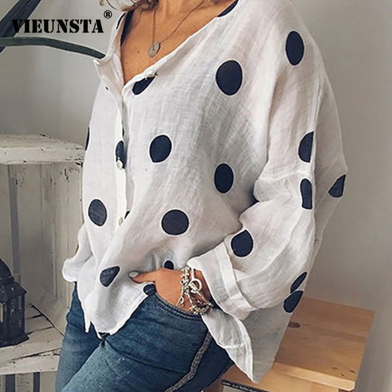 VIEUNSTA 2019 Polka Dots Print Women Casual   Blouse     Shirt   Long Sleeve Buttons Loose Womens   Blouses   And Tops Plus Size Basic Blusa