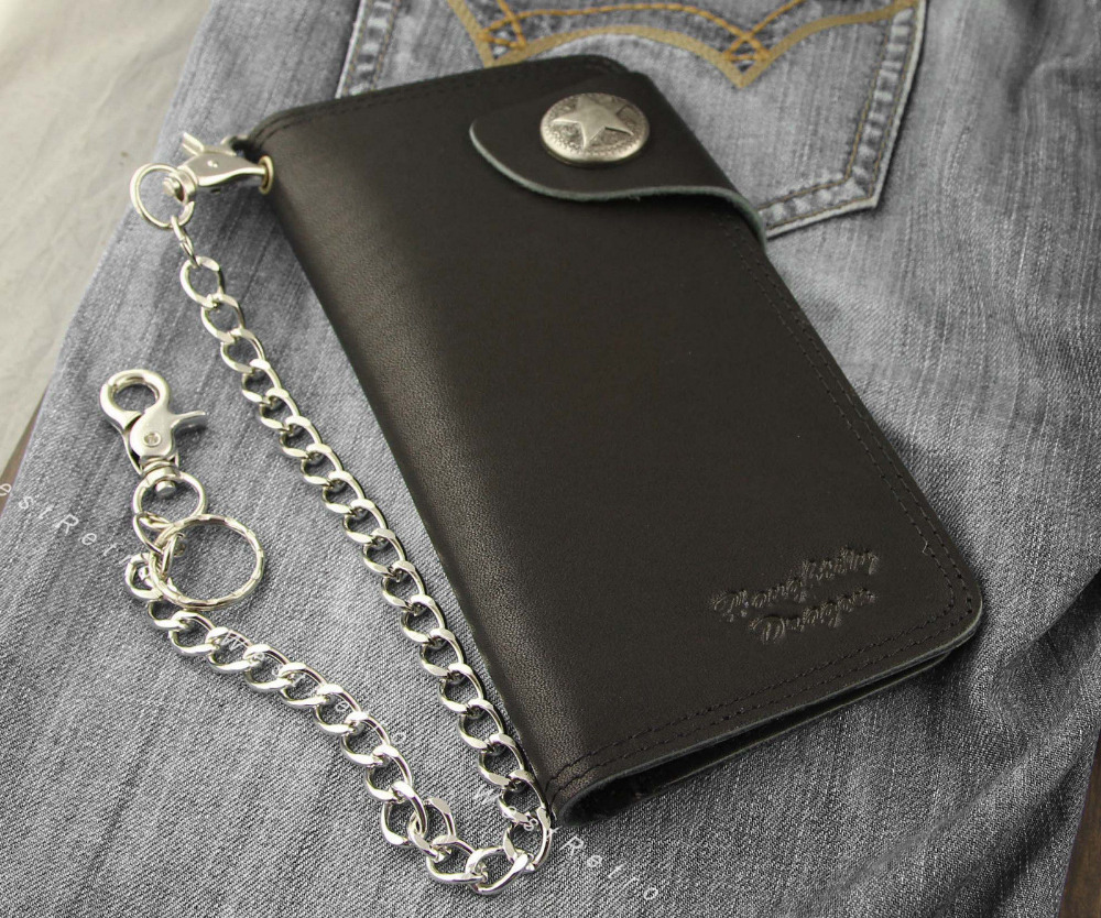 Mens Real Leather Black Biker Rider Wallet With Coin Pocket Metal Chain