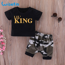 Wisefin Newborn Baby Boys Clothes Set Short Sleeve Infants And Toddler Clothing Black Tops + Camo Pant 2Pcs Outfits