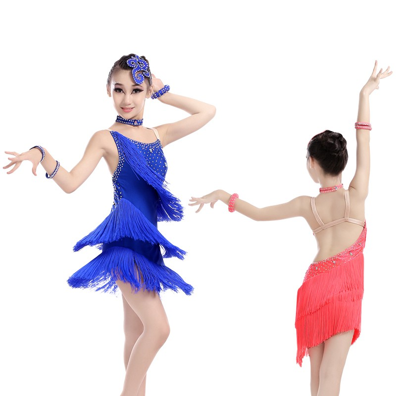 Professional Dance Competition Dresses Girls Fringe Tassel Straps Dancing Costumes Salsa Rumba Tango Latin Dresses