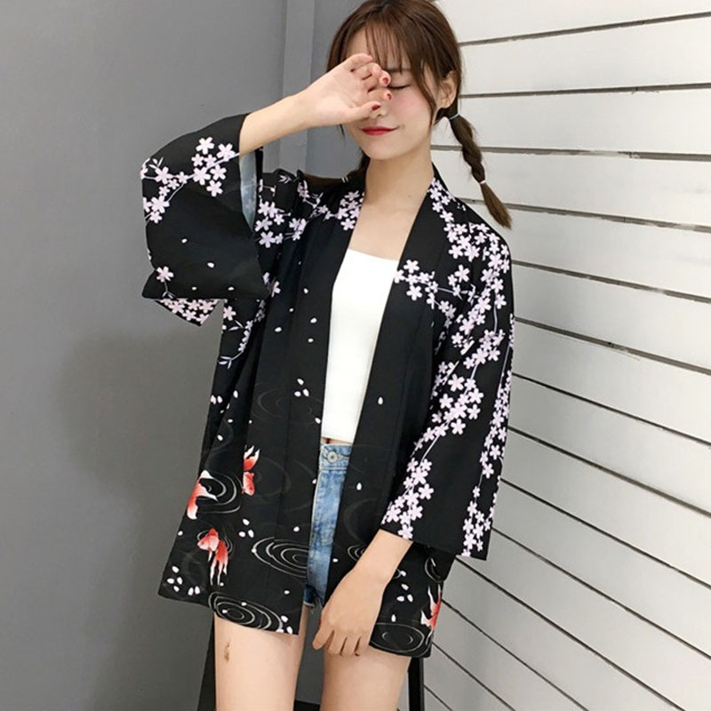 Harajuku Cartoon Print Kimono Summer Women Cardigan Causal Female   Blouse     Shirt   Loose Outerwear