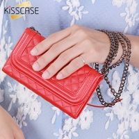 Metal Chain Mirror Women Girl Mini Purse Wallet Case For Iphone 6 Grid Skin Leather Cover