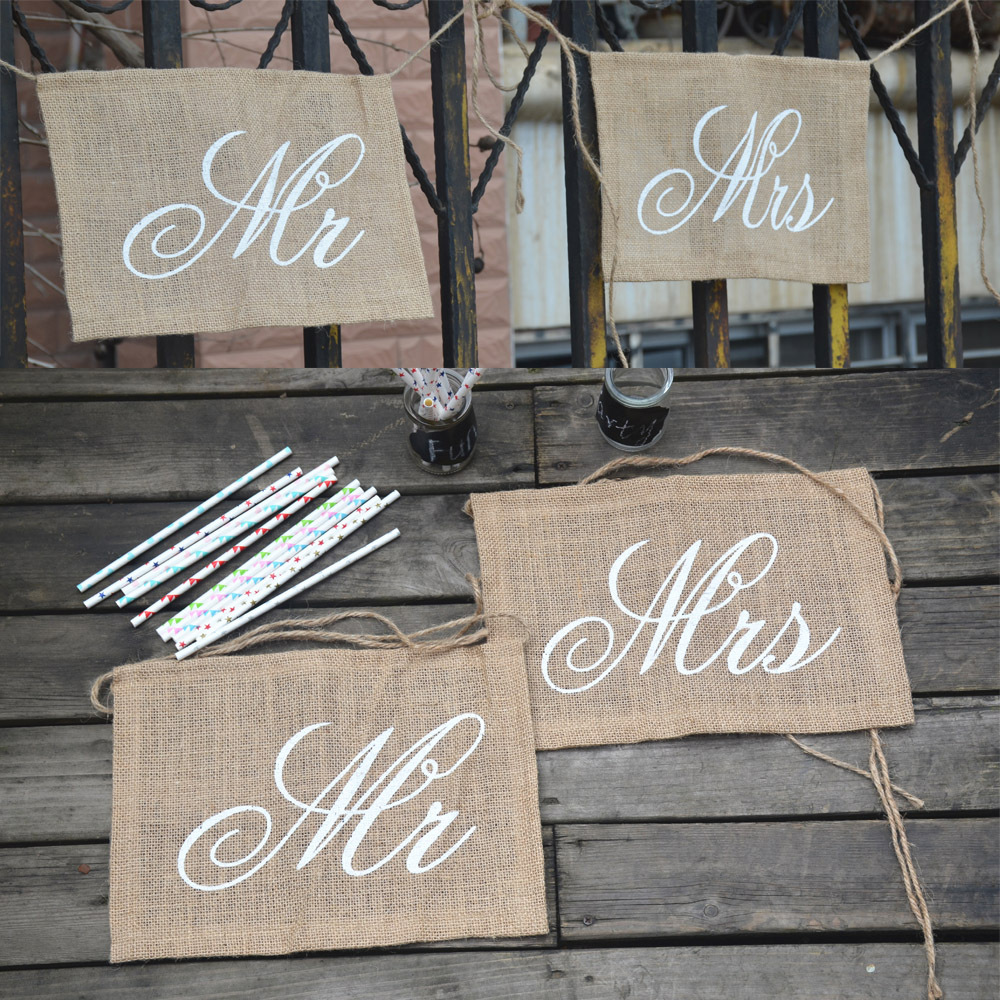 2018 Rectangle banners for chair decoration Wedding Decor Burlap Flags Banner Rustic Country Wedding Hanging Sign event supplies