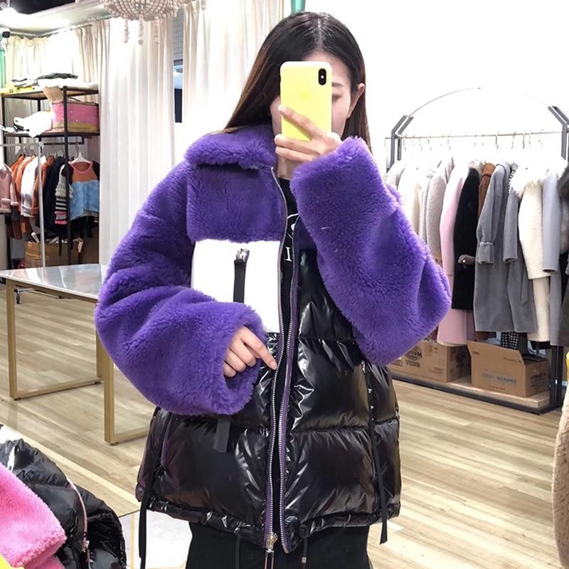 white red Manteaux Streetwear 2018 Col purple Coréenne Veste Canard De Nouvelle camel Mode Court Femmes yellow Véritable Manteau Naturel Pink D'hiver Moutons Duvet Fourrure Style tUPRw1qU