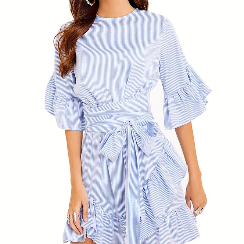 VOGOCM Women Autumn Elegance Striped Dress Casual Vestidos O Neck Long Sleeve With Belt Party Club Mini Dresses