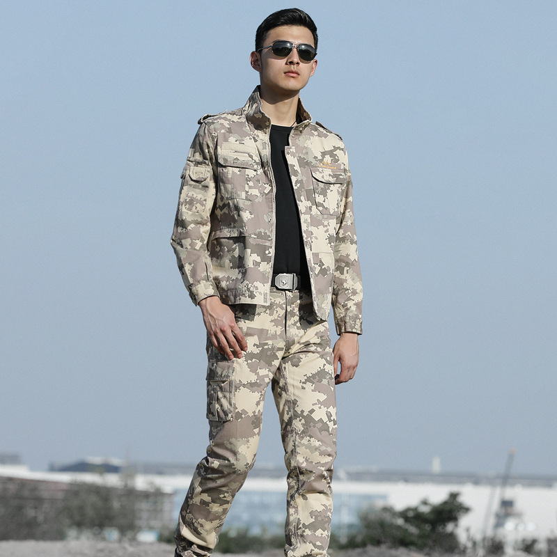 High Quality Men Army Beige Tactical Military Uniform Camouflage Combat Jacket+ Combat pant Special Forces ACU Uniforms Man Coat