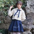 Girls Preppy Lolita Beige Boes Short Cape Coat Navy Blue Letters Embroidered Lace Trim Skirt