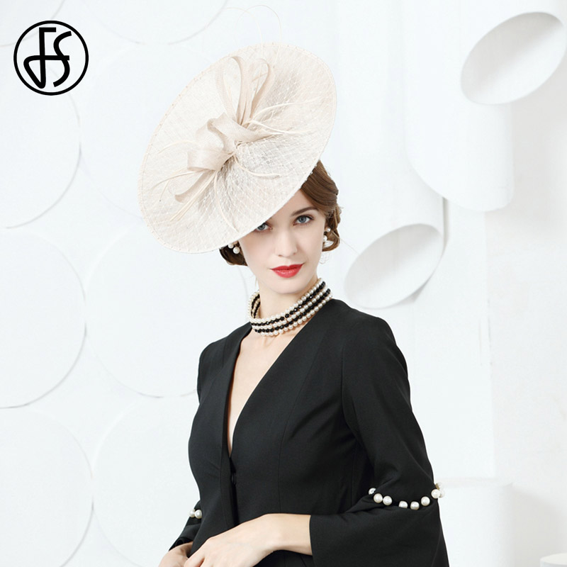 FS Women Fascinators Elegant Sinamay Hats For Wedding Beige White Linen Church Hat Lady Bow Feather