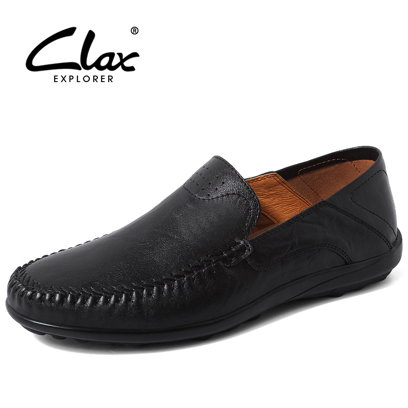 CLAX Men Leather Shoes Slip on 2018 Spring Fashion Boat Shoe Male Flat Loafers Summer Moccasin Breathable Holes Soft Casual Shoe clax men s casual shoes fashion leisure shoe 2018 spring summer men leather footwear breathable handmade loafers sewing sole