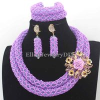 Fashion Lavender Crystal Nigerian Wedding beads African Beads Jewelry Set Bridesmaid Necklace Set Free Shipping W13314
