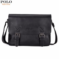 VICUNA POLO Fashion Leather Men Satchel Shoulder Bag High Quality Men Messenger Bag Casual Business Crossbody
