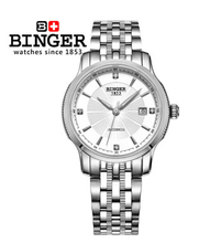Binger Sport White Gold Classic Round 38mm Big Dial Steel Strap Word Automatic Limit Edition Bell