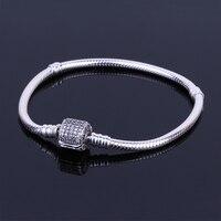 Authentic 925 Sterling Silver Barrel Clasp Bracelet Basic CZ Snake Chain Fit European Charms Bracelets DIY
