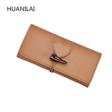 HUANILAI New Women Wallets Purses PU Leather Long Wallet  Ladies Money Coin Pocket Card Holder Female Wallets With Heart QJ01 bvlriga women wallet nubuck leather long purses card holder women clutches fashion wallets money purses 2017 new clutches women
