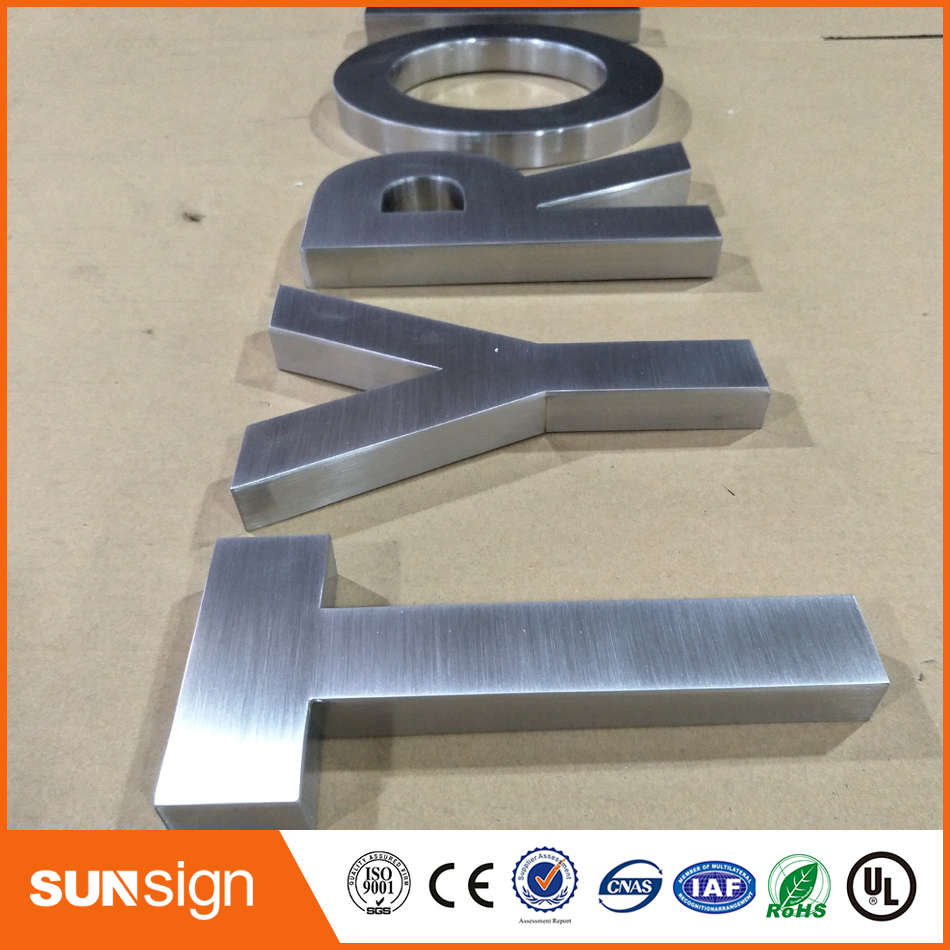 New Design Indoor Channel Letter 3D Brusehd Stainless Steel Letters