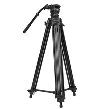 цены WF718 Professional Video Tripod DSLR Camera Heavy Duty Tripod with Fluid Pan Head 1.8m high Load 8kg WF-718 better than JY0508