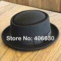 Зимняя шерсть Porkpie Fedora для мужчин Chapeu Masculino панама чувствовал плоской вершиной шапки бесплатная доставка PWFR-054