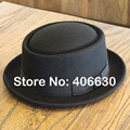 Winter Wool Porkpie Fedora Hats For Men Chapeu Masculino Panama Felt Flat Top Caps Free Shipping PWFR-054