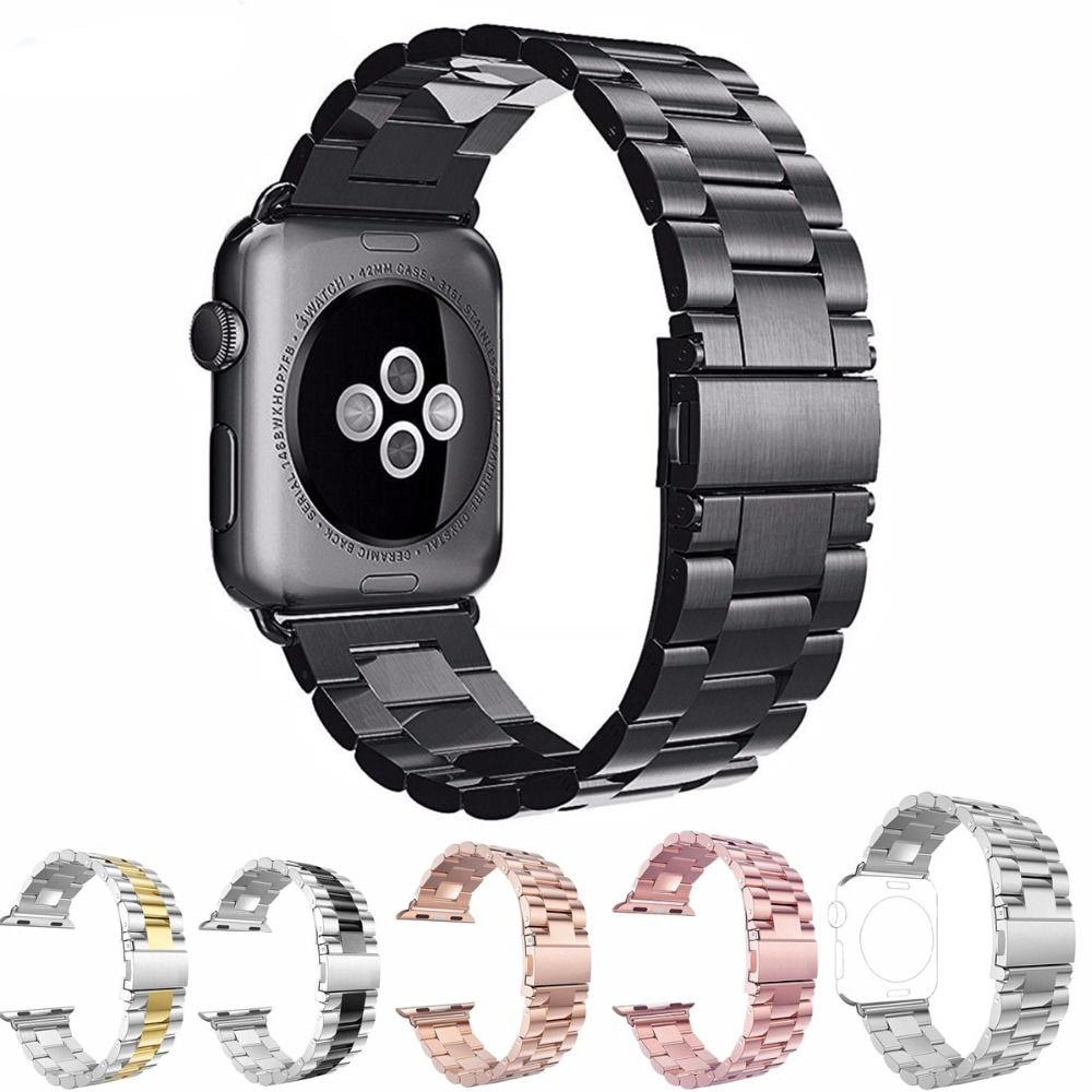 Moda de acero inoxidable correa de reloj para Apple Watch 42mm 38mm enlace pulsera reemplazo para iwatch serise 1 2 3