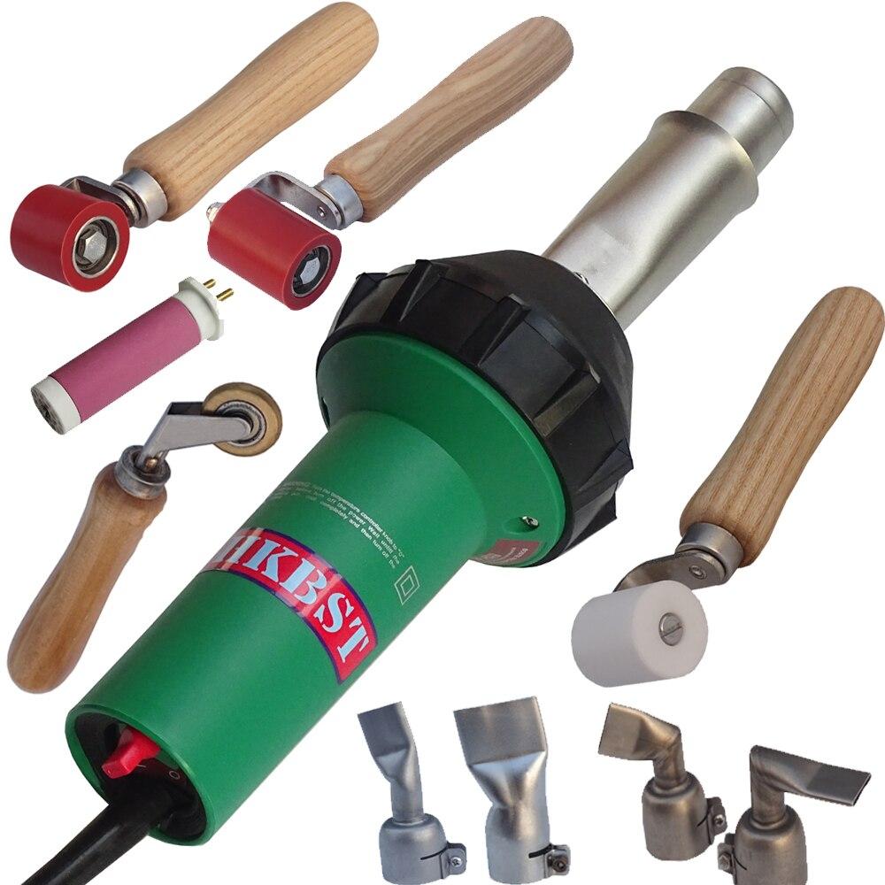 Pistola per saldatura ad aria calda HKBST per saldatore a geomembrana in HDPE per tetto in TPO con ugello a saldare piatto e rulli per saldatore in plastica