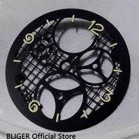 Clásico 38 9 MM negro estéril tridimensional Ho'l'lo'w Dial de reloj para ETA 6497 ST3600 movimiento de bobinado manual D36|Esferas de reloj| |  -