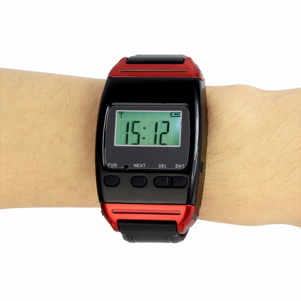 Restaurant Pager Wireless Calling Watch Receiver Call Pager System for Restaurant Hospital Waiter Nurse Call F4488A tivdio 433mhz wireless 2 wrist watch receiver 20 calling transmitter button call pager four key pager restaurant equipment f3285