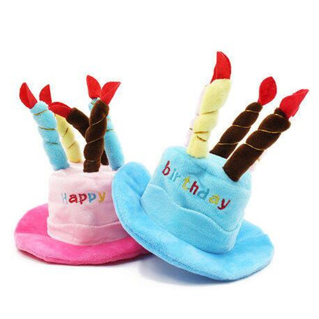 2018 New Pink Blue Pet Cat Dog Birthday Candles Hat Caps Dogs Cats Party Hats Supplies