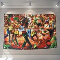 """BOB marley"" Jamaica Reggae Rock Music Banners Hanging Flag Wall Sticker Cafe Restaurant locomotive club Live background decor"