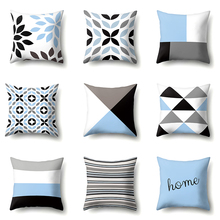 Nordic Couch Наволочка 45x45см Печатный Геометрический Полиэстер Бело-синие наволочки Подушка Home