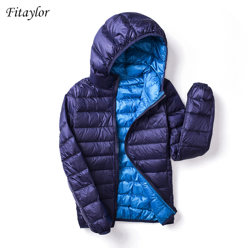 Fitaylor 2019 New Autumn Winter Women Ultra Light   Down   Jackets Casual Double Side Reversible   Coats   Plus Size 4XL Female Outwear