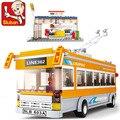 Sluban 0332 trolebuses 457 unids 3d de construcción de ladrillos diy bloques de construcción establece para niños de juguete compatible con leping diy