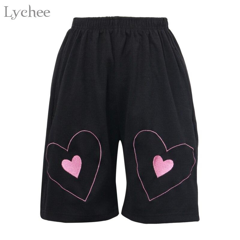 Lychee Summer Love Heart Embroidery Women   Shorts   Elastic Waist Harajuku Punk Casual Loose Kawaii   Shorts