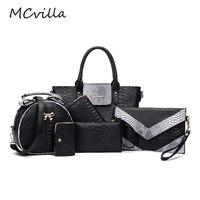 Hot Women Bag 6 Piece Set Casual Fashion Shoulder Bags Alligator Panelled Serpentine Python Brand Women