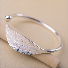 luxury female gold filled bangle trendy jewelry accessories silver leaf bracelet & bangle for women girls gift Pulseira